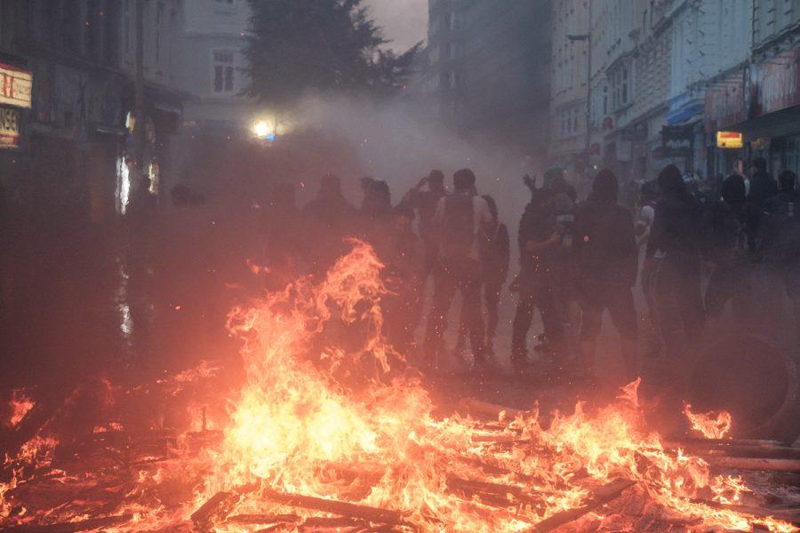 Burning barricades in Hamburg