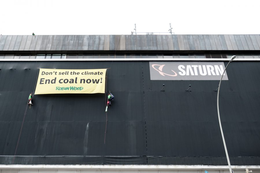 Robin Wood Aktivists protesting against further use of coal