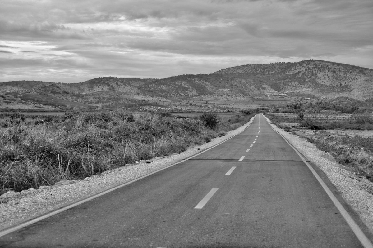 Lonely highway not far from the Greek border