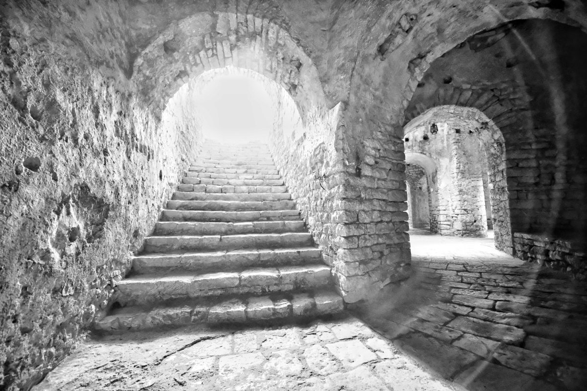 Empty staircase in the fortress of Porto Palermo